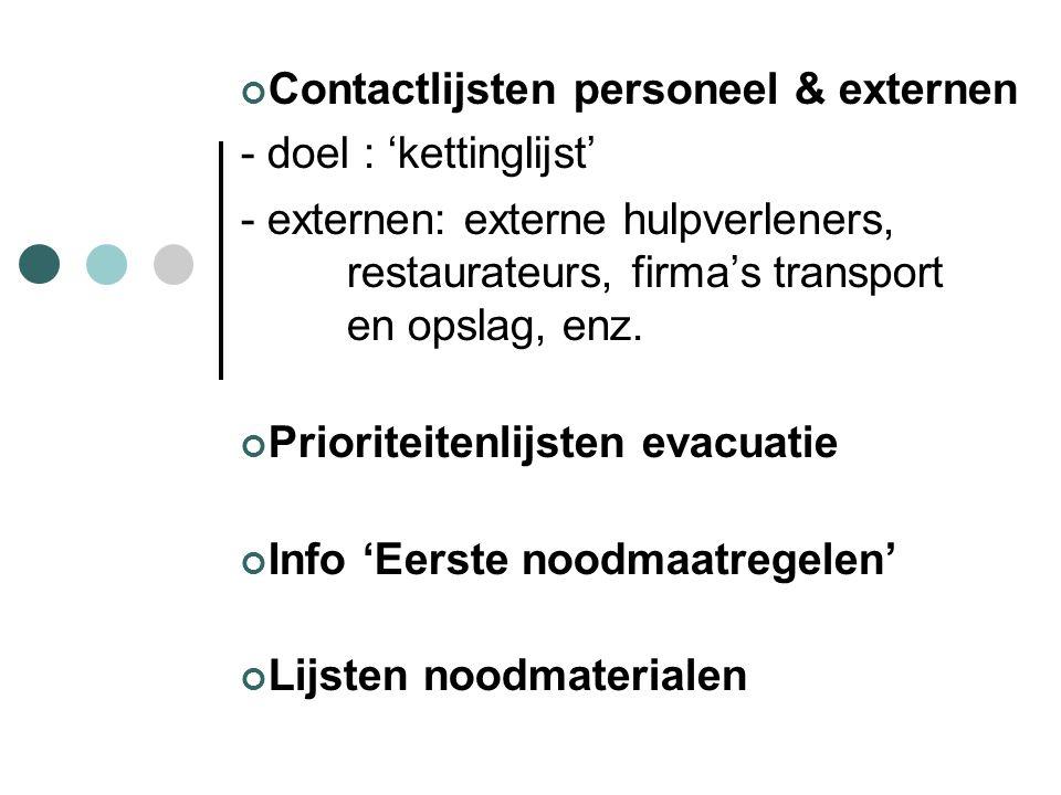 Contactlijsten personeel & externen - doel : 'kettinglijst' - externen: externe hulpverleners, restaurateurs, firma's transport en opslag, enz. Priori