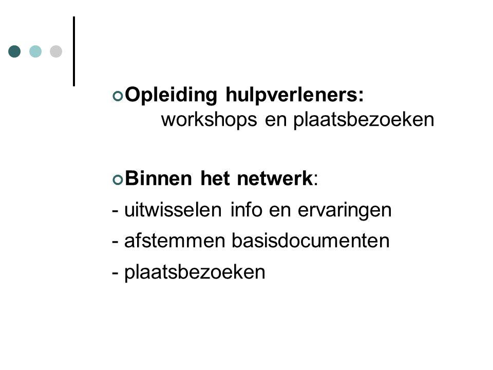 Opleiding hulpverleners: workshops en plaatsbezoeken Binnen het netwerk: - uitwisselen info en ervaringen - afstemmen basisdocumenten - plaatsbezoeken