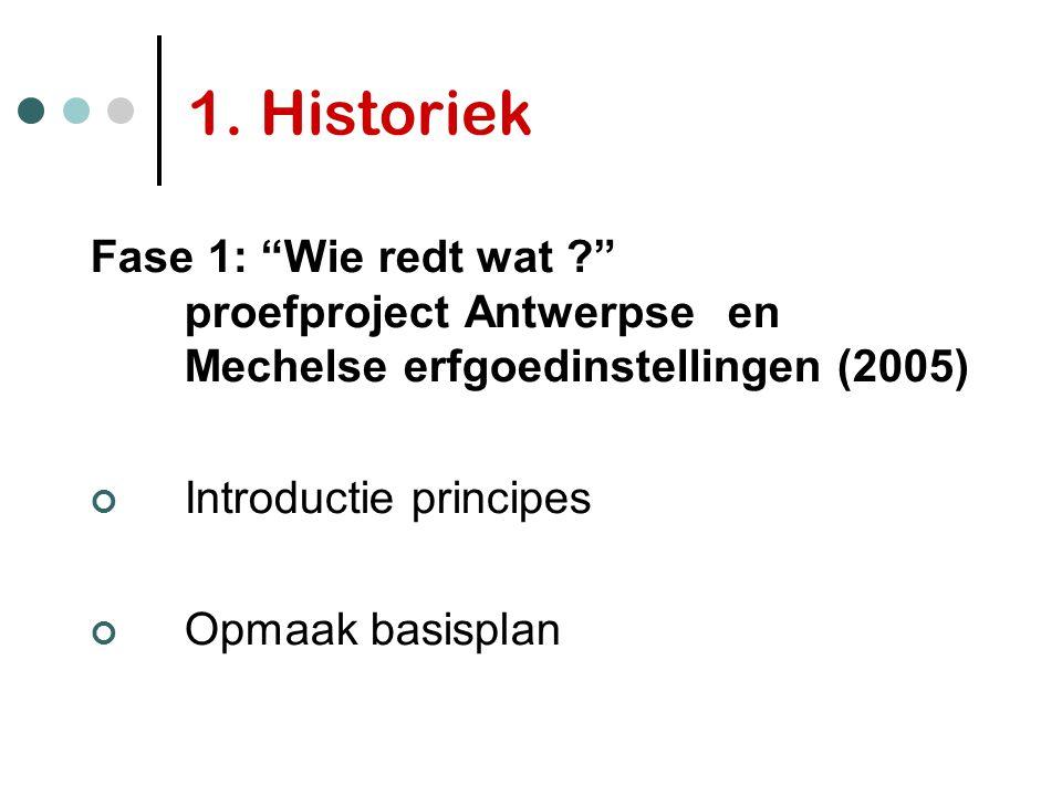 "1. Historiek Fase 1: ""Wie redt wat ?"" proefproject Antwerpseen Mechelse erfgoedinstellingen (2005) Introductie principes Opmaak basisplan"