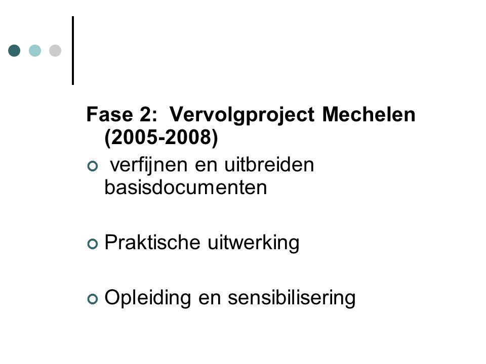 Fase 2: Vervolgproject Mechelen (2005-2008) verfijnen en uitbreiden basisdocumenten Praktische uitwerking Opleiding en sensibilisering