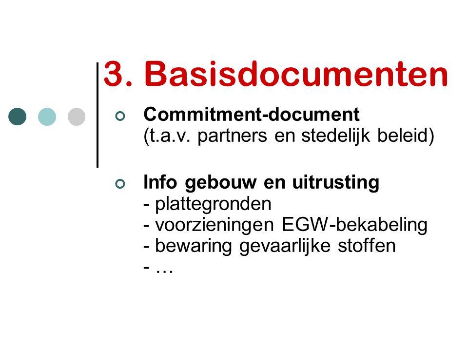 3. Basisdocumenten Commitment-document (t.a.v. partners en stedelijk beleid) Info gebouw en uitrusting - plattegronden - voorzieningen EGW-bekabeling