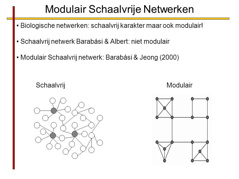 Modulair Schaalvrije Netwerken Biologische netwerken: schaalvrij karakter maar ook modulair! Schaalvrij netwerk Barabási & Albert: niet modulair Modul