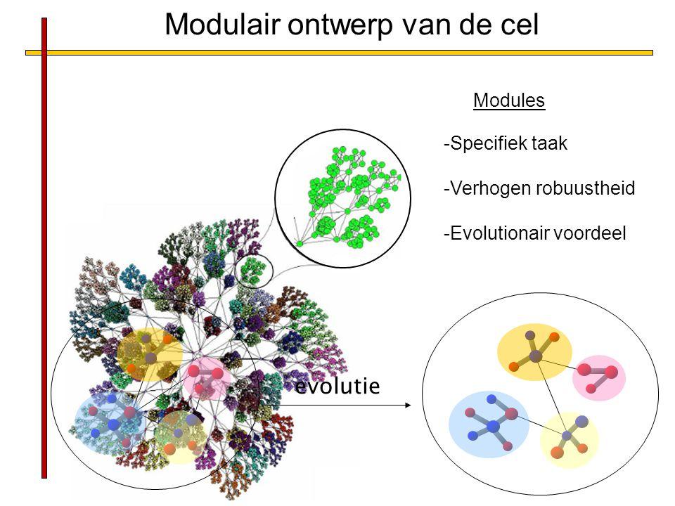 -Specifiek taak -Verhogen robuustheid -Evolutionair voordeel Modules Modulair ontwerp van de cel evolutie