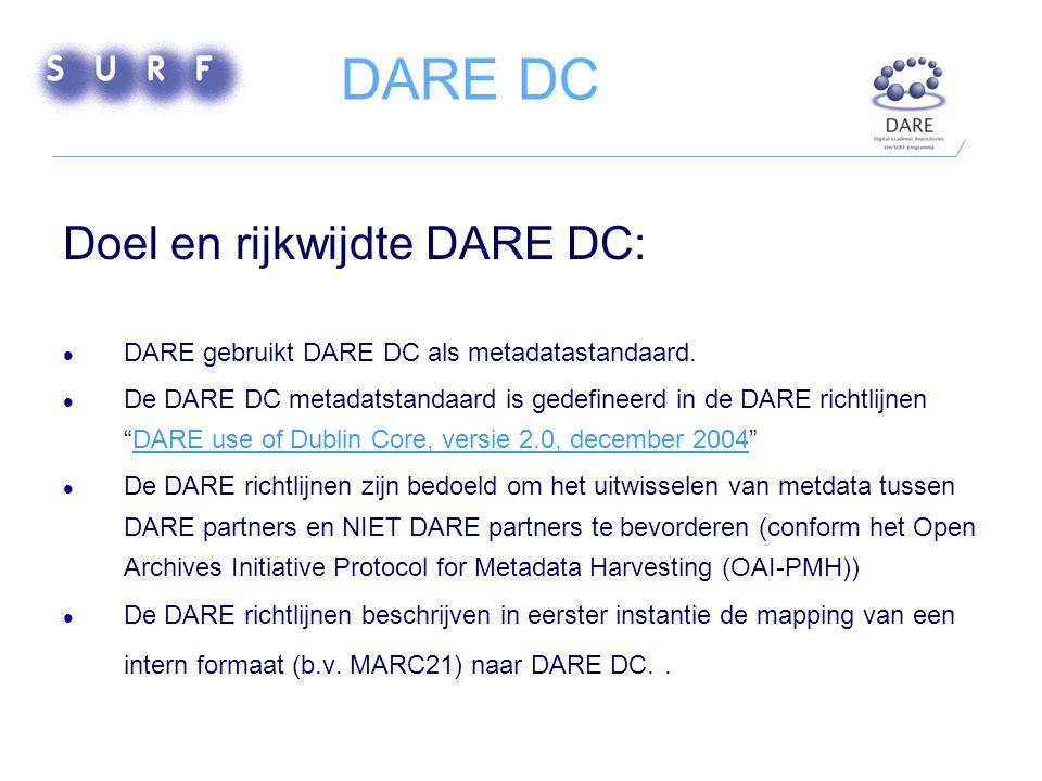 DARE DC Doel en rijkwijdte DARE DC: DARE gebruikt DARE DC als metadatastandaard.