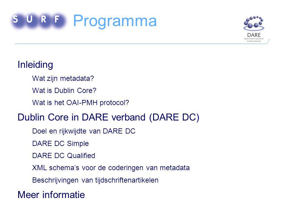 Programma Inleiding Wat zijn metadata. Wat is Dublin Core.