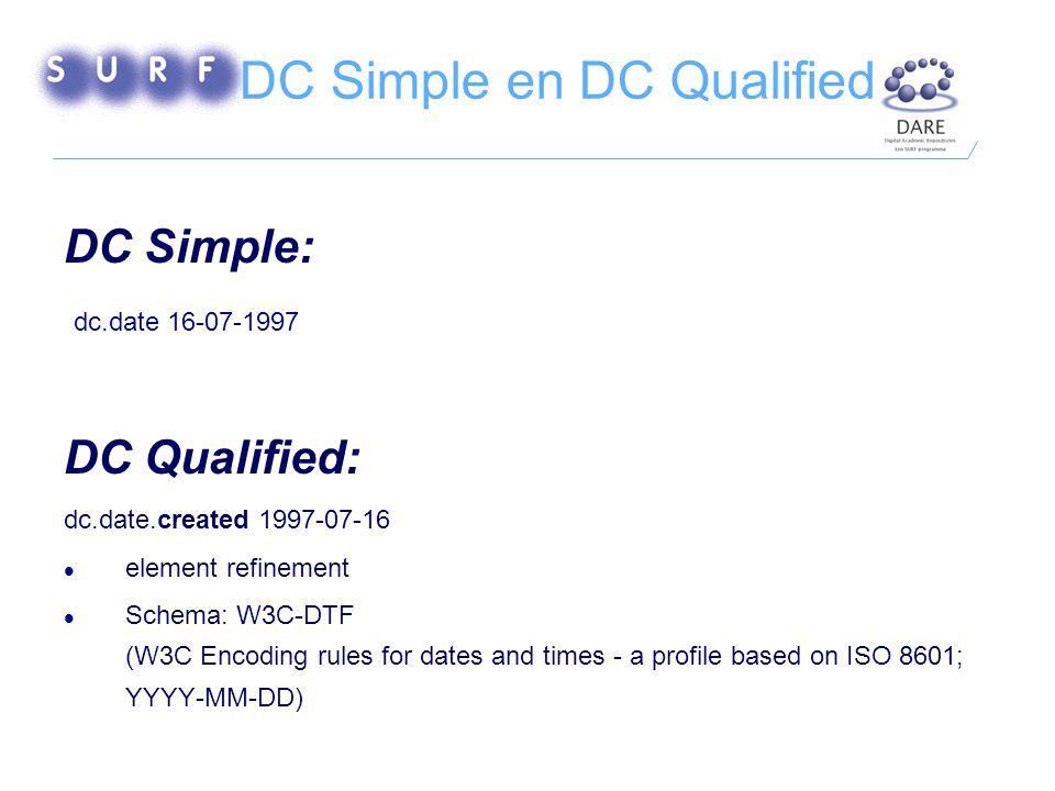 DC Simple en DC Qualified DC Simple: dc.date 16-07-1997 DC Qualified: dc.date.created 1997-07-16 element refinement Schema: W3C-DTF (W3C Encoding rules for dates and times - a profile based on ISO 8601; YYYY-MM-DD)