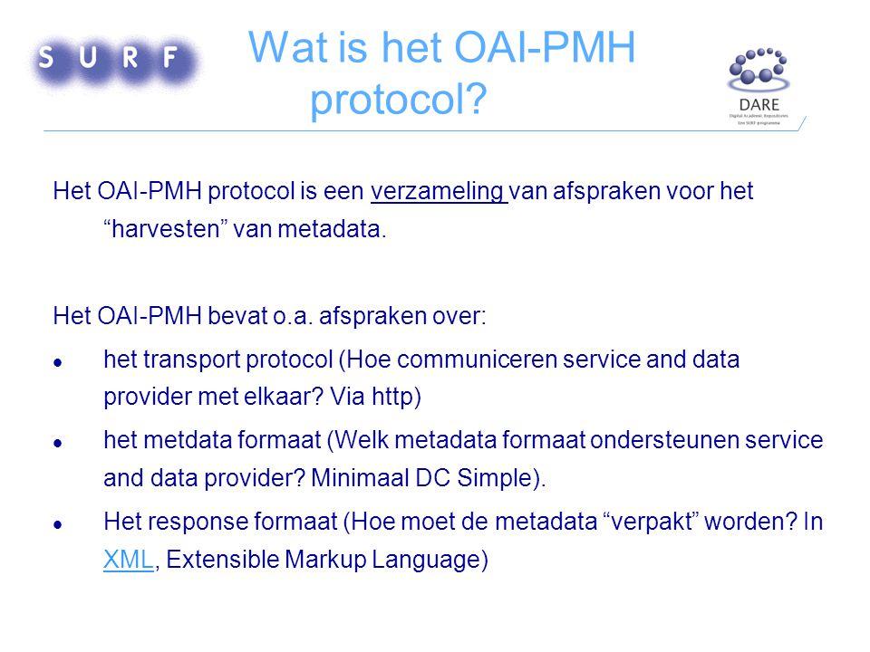 Hoe functioneert het OAI-PMH ? (Bron: OAI-PMH tutorial)OAI-PMH tutorial