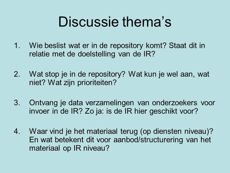 Discussie thema's 1.Wie beslist wat er in de repository komt.