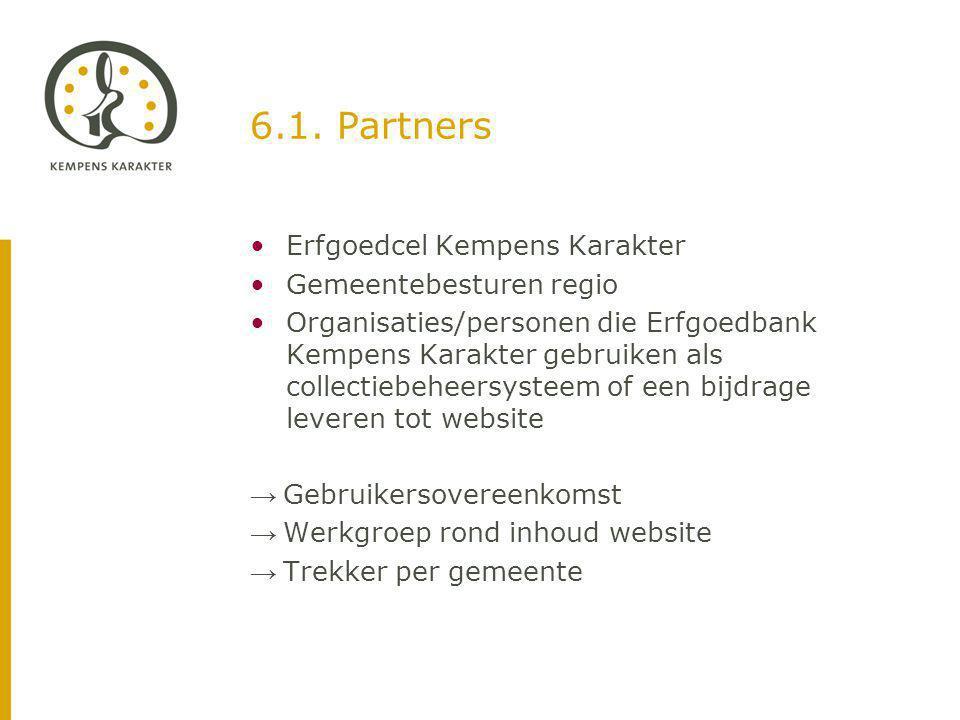 6.1. Partners Erfgoedcel Kempens Karakter Gemeentebesturen regio Organisaties/personen die Erfgoedbank Kempens Karakter gebruiken als collectiebeheers