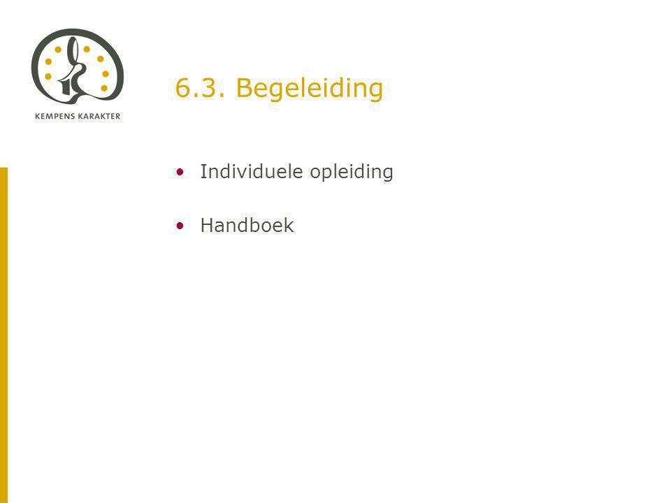 6.3. Begeleiding Individuele opleiding Handboek