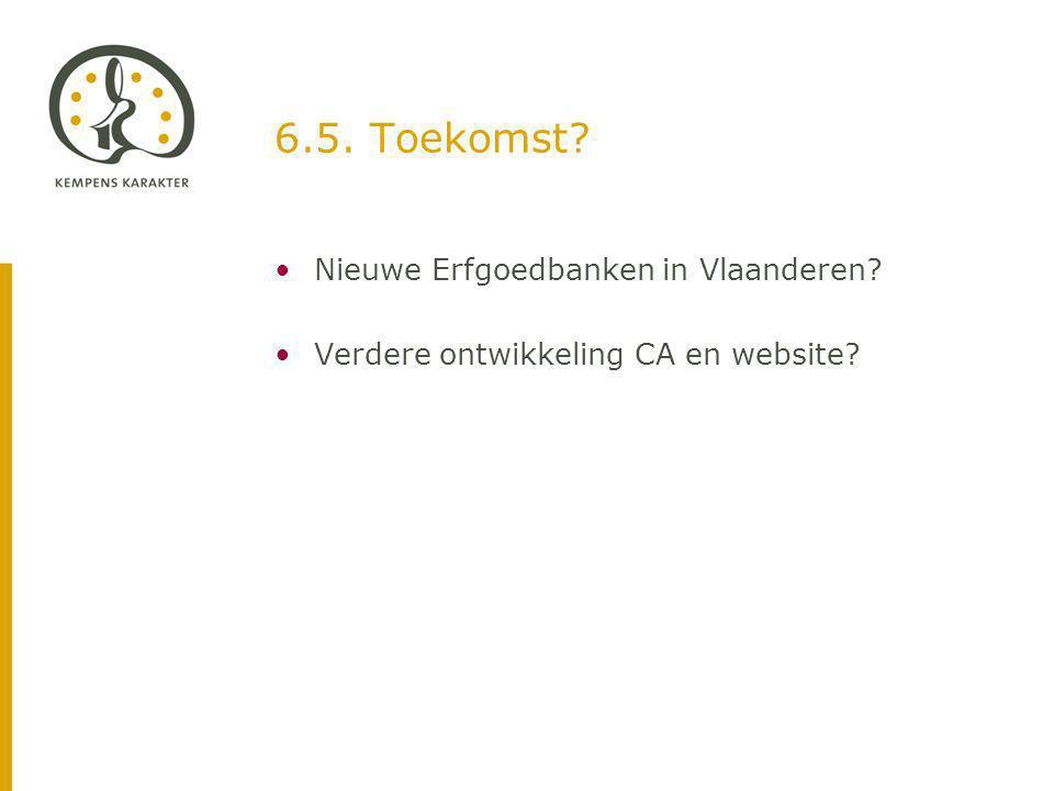 6.5. Toekomst Nieuwe Erfgoedbanken in Vlaanderen Verdere ontwikkeling CA en website