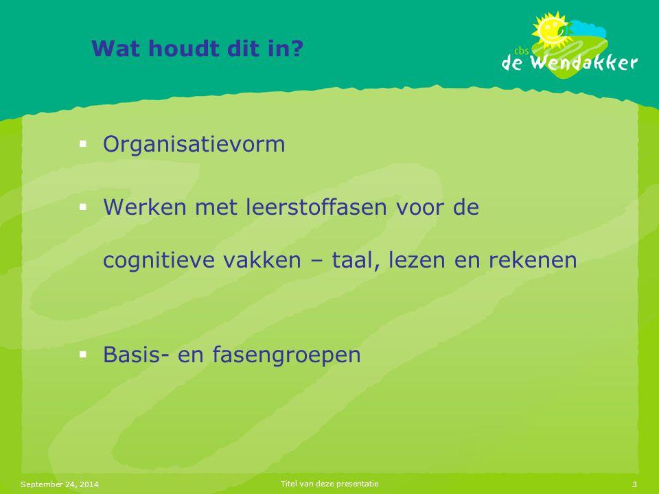 September 24, 2014Titel van deze presentatie4 Fasenonderwijs  Instructie op niveau met leerstofmodules passend bij ontwikkelingsniveau van de kinderen  werken in de basisgroep