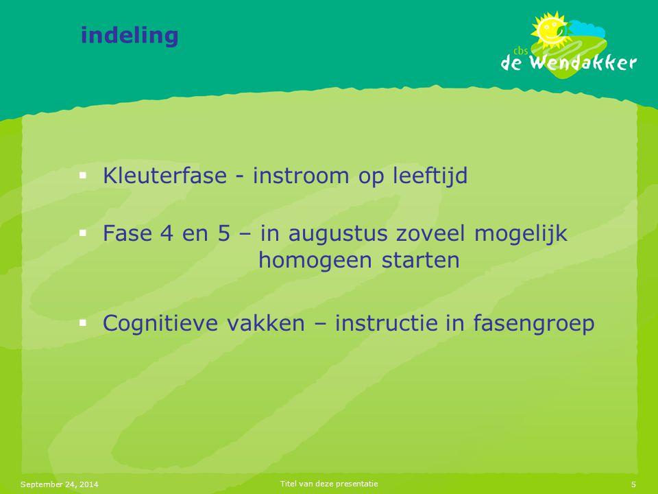 September 24, 2014Titel van deze presentatie5 indeling  Kleuterfase - instroom op leeftijd  Fase 4 en 5 – in augustus zoveel mogelijk homogeen starten  Cognitieve vakken – instructie in fasengroep