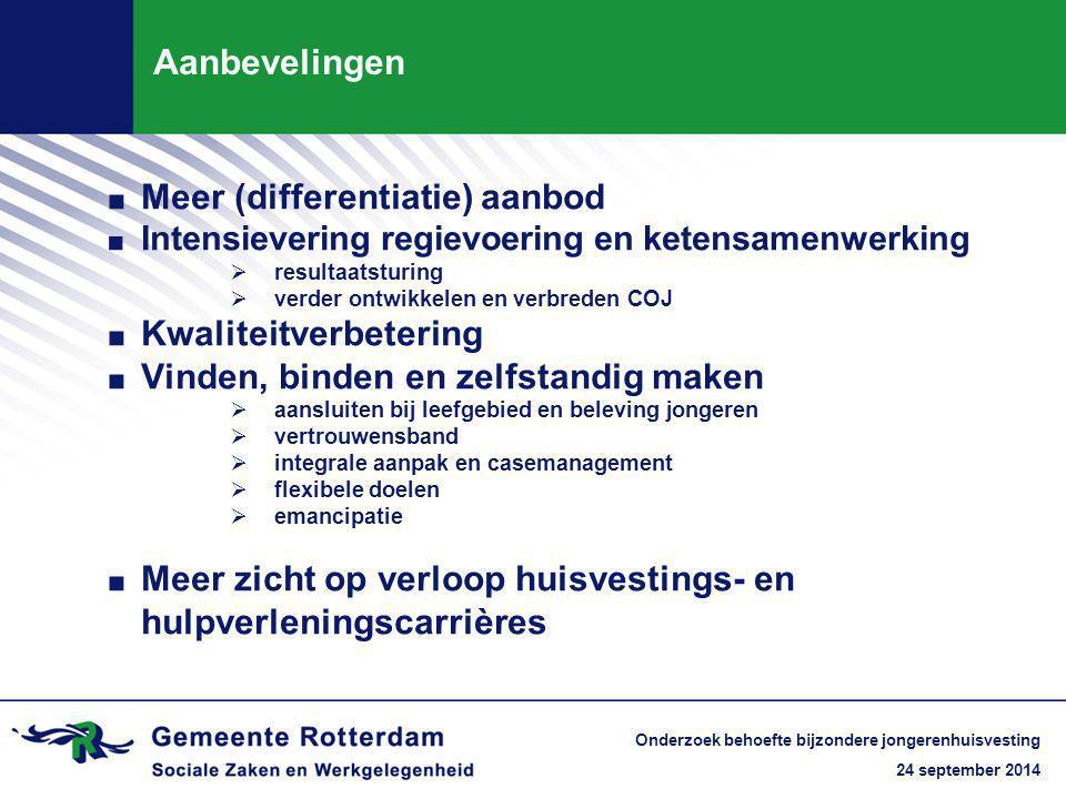 24 september 2014 Onderzoek behoefte bijzondere jongerenhuisvesting Aanbevelingen. Meer (differentiatie) aanbod. Intensievering regievoering en ketens