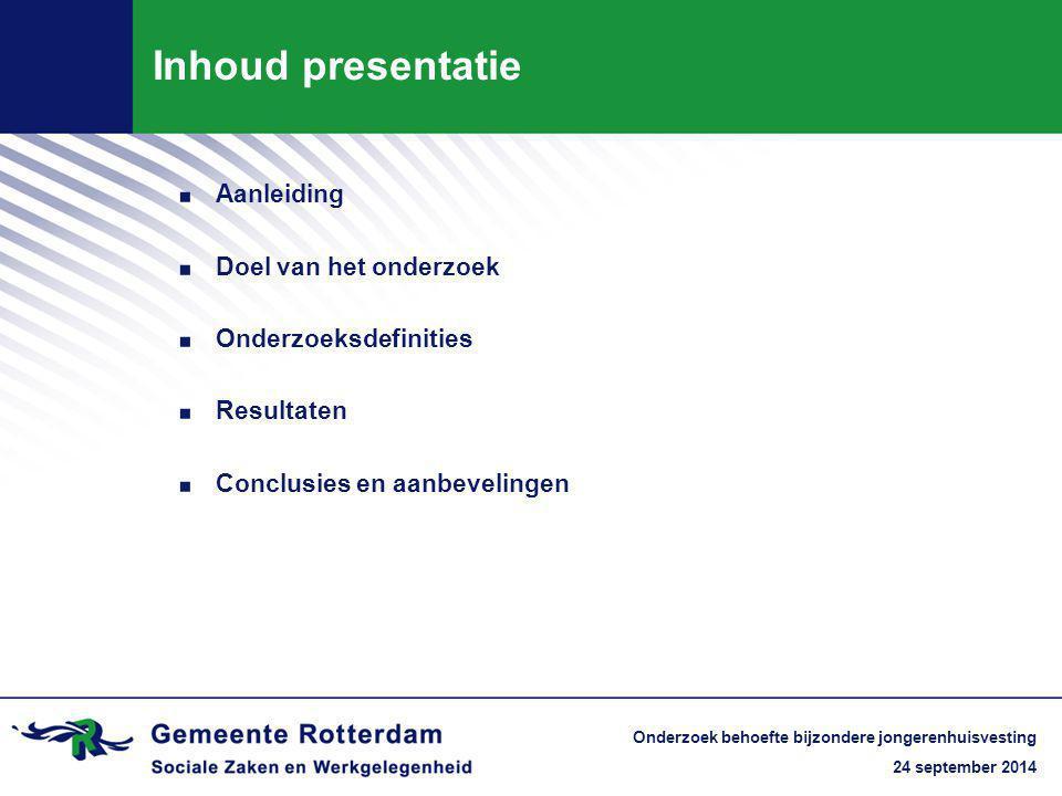 24 september 2014 Onderzoek behoefte bijzondere jongerenhuisvesting Inhoud presentatie. Aanleiding. Doel van het onderzoek. Onderzoeksdefinities. Resu