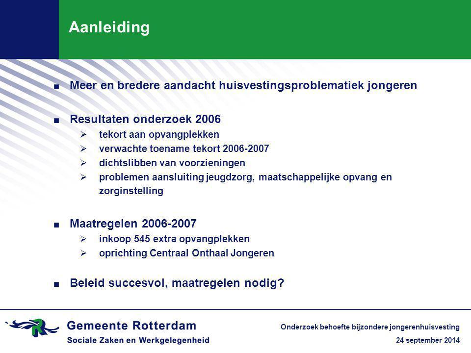 24 september 2014 Onderzoek behoefte bijzondere jongerenhuisvesting Aanleiding. Meer en bredere aandacht huisvestingsproblematiek jongeren. Resultaten