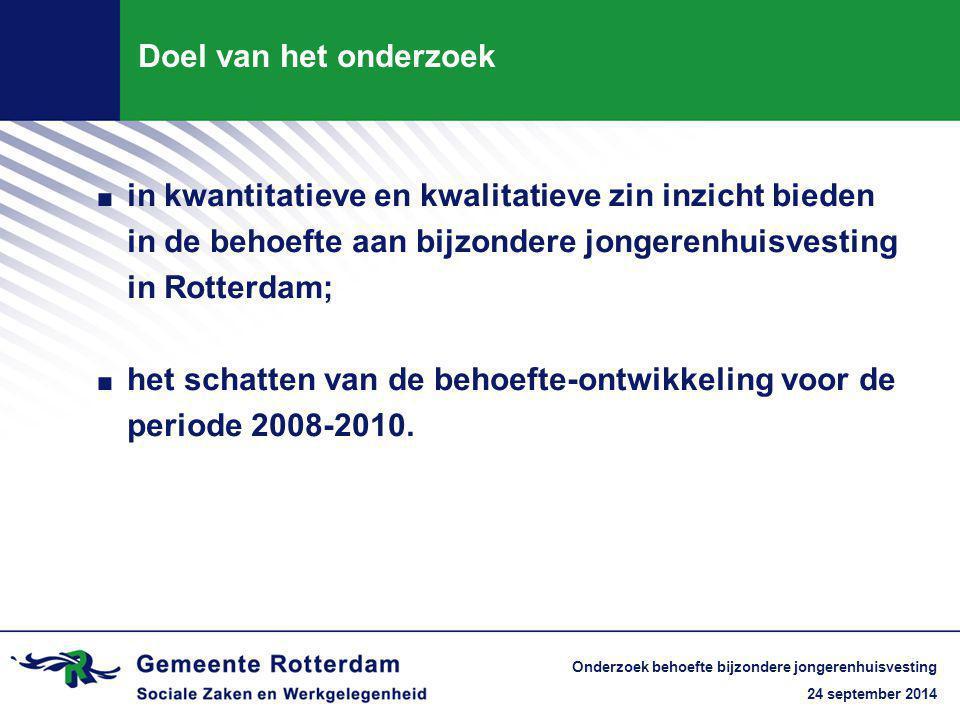 24 september 2014 Onderzoek behoefte bijzondere jongerenhuisvesting Doel van het onderzoek.i.in kwantitatieve en kwalitatieve zin inzicht bieden in de behoefte aan bijzondere jongerenhuisvesting in Rotterdam;.h.het schatten van de behoefte-ontwikkeling voor de periode 2008-2010.
