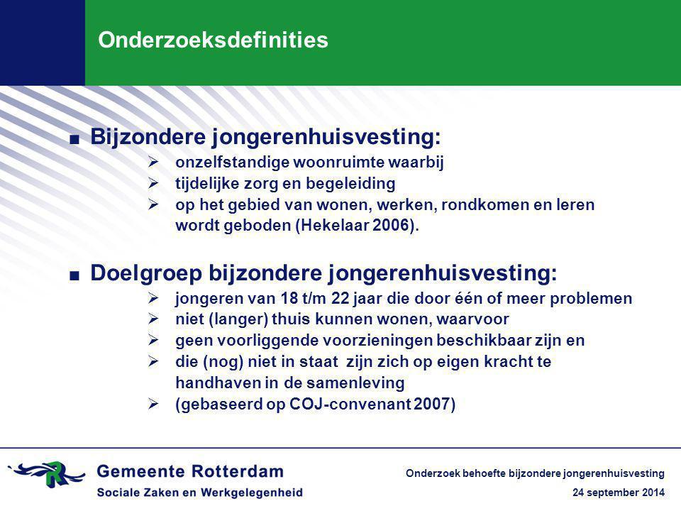 24 september 2014 Onderzoek behoefte bijzondere jongerenhuisvesting Onderzoeksdefinities. Bijzondere jongerenhuisvesting:  onzelfstandige woonruimte