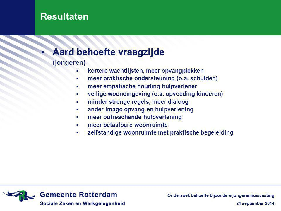 24 september 2014 Onderzoek behoefte bijzondere jongerenhuisvesting Resultaten  Aard behoefte vraagzijde (jongeren)  kortere wachtlijsten, meer opvangplekken  meer praktische ondersteuning (o.a.