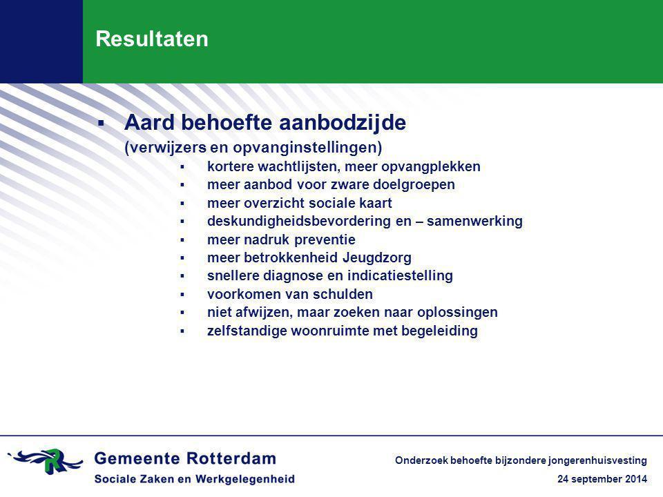 24 september 2014 Onderzoek behoefte bijzondere jongerenhuisvesting Resultaten  Aard behoefte aanbodzijde (verwijzers en opvanginstellingen)  korter