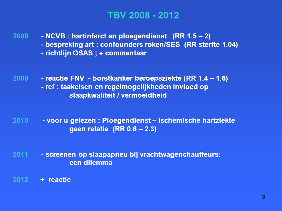 3 TBV 2008 - 2012 2008 - NCVB : hartinfarct en ploegendienst (RR 1.5 – 2) - bespreking art : confounders roken/SES (RR sterfte 1.04) - richtlijn OSAS