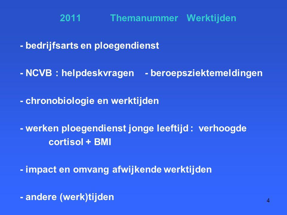 2011 Themanummer Werktijden - bedrijfsarts en ploegendienst - NCVB : helpdeskvragen - beroepsziektemeldingen - chronobiologie en werktijden - werken p