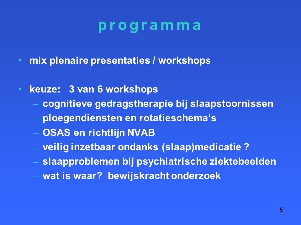 programma mix plenaire presentaties / workshops keuze: 3 van 6 workshops – cognitieve gedragstherapie bij slaapstoornissen – ploegendiensten en rotati