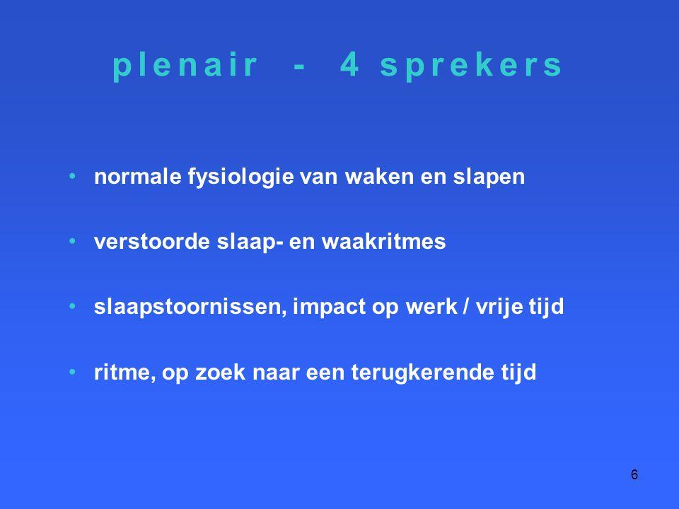 plenair - 4 sprekers normale fysiologie van waken en slapen verstoorde slaap- en waakritmes slaapstoornissen, impact op werk / vrije tijd ritme, op zo