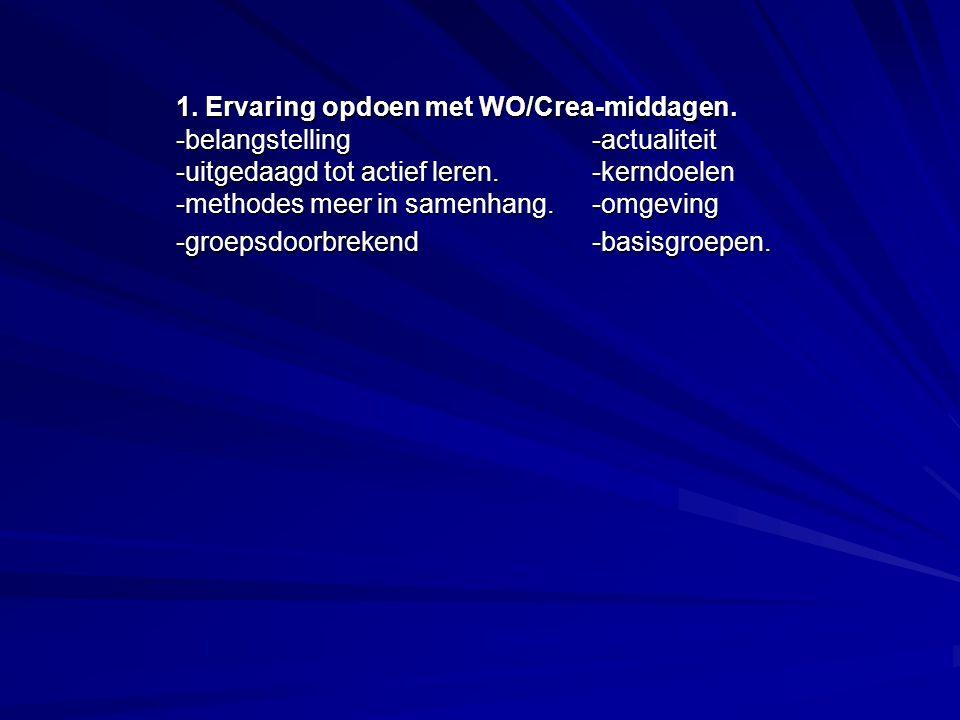 1. Ervaring opdoen met WO/Crea-middagen.