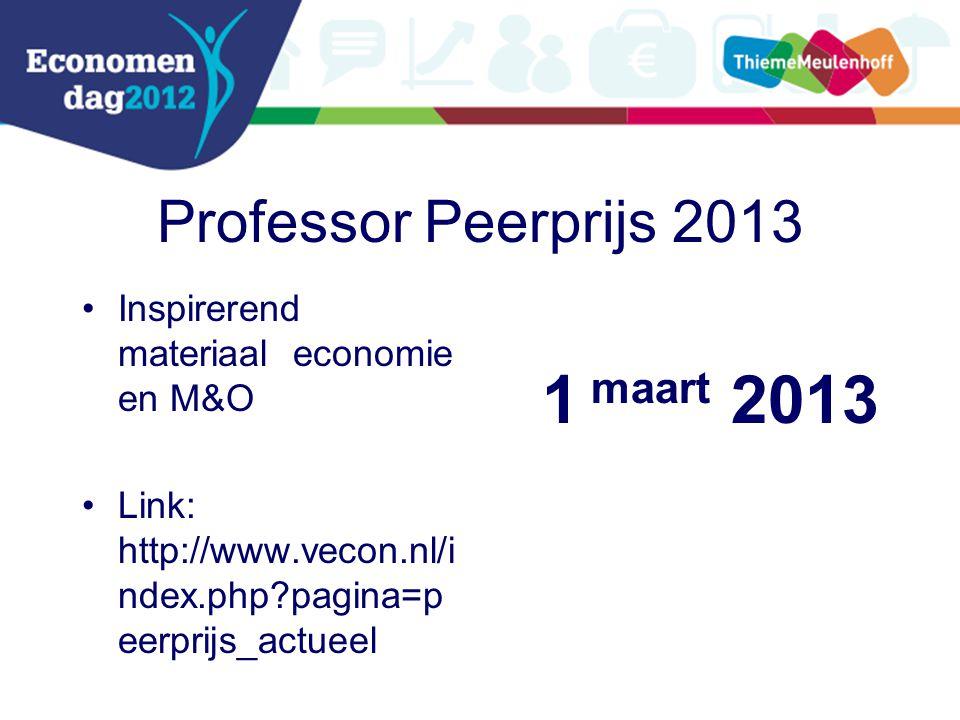 Professor Peerprijs 2013 Inspirerend materiaal economie en M&O Link: http://www.vecon.nl/i ndex.php?pagina=p eerprijs_actueel 1 maart 2013