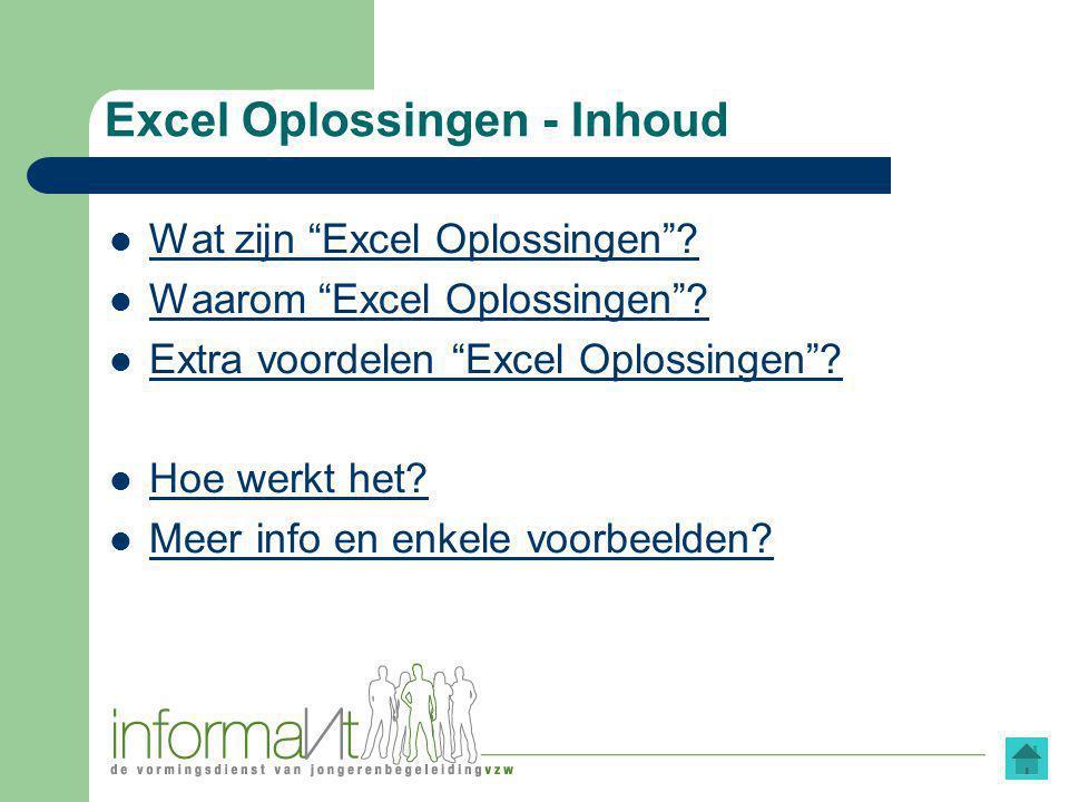 Excel Oplossingen - Inhoud Wat zijn Excel Oplossingen .