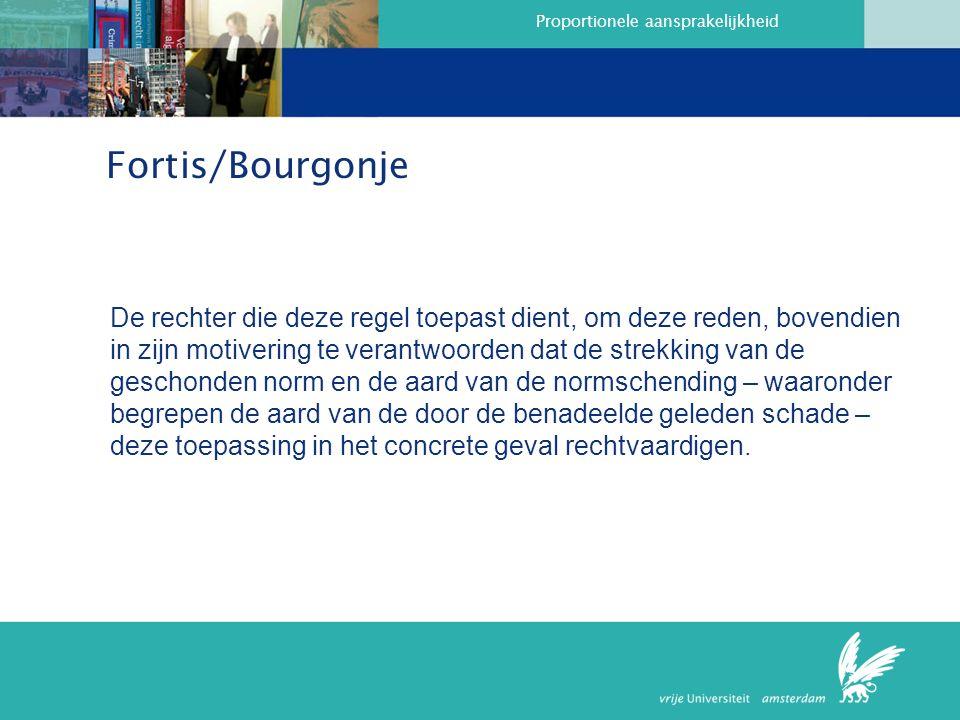 Proportionele aansprakelijkheid Fortis/Bourgonje De rechter die deze regel toepast dient, om deze reden, bovendien in zijn motivering te verantwoorden dat de strekking van de geschonden norm en de aard van de normschending – waaronder begrepen de aard van de door de benadeelde geleden schade – deze toepassing in het concrete geval rechtvaardigen.