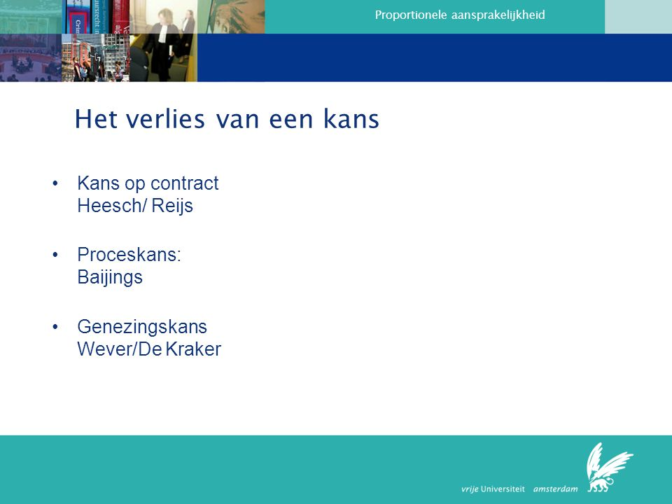 Proportionele aansprakelijkheid Het verlies van een kans Kans op contract Heesch/ Reijs Proceskans: Baijings Genezingskans Wever/De Kraker