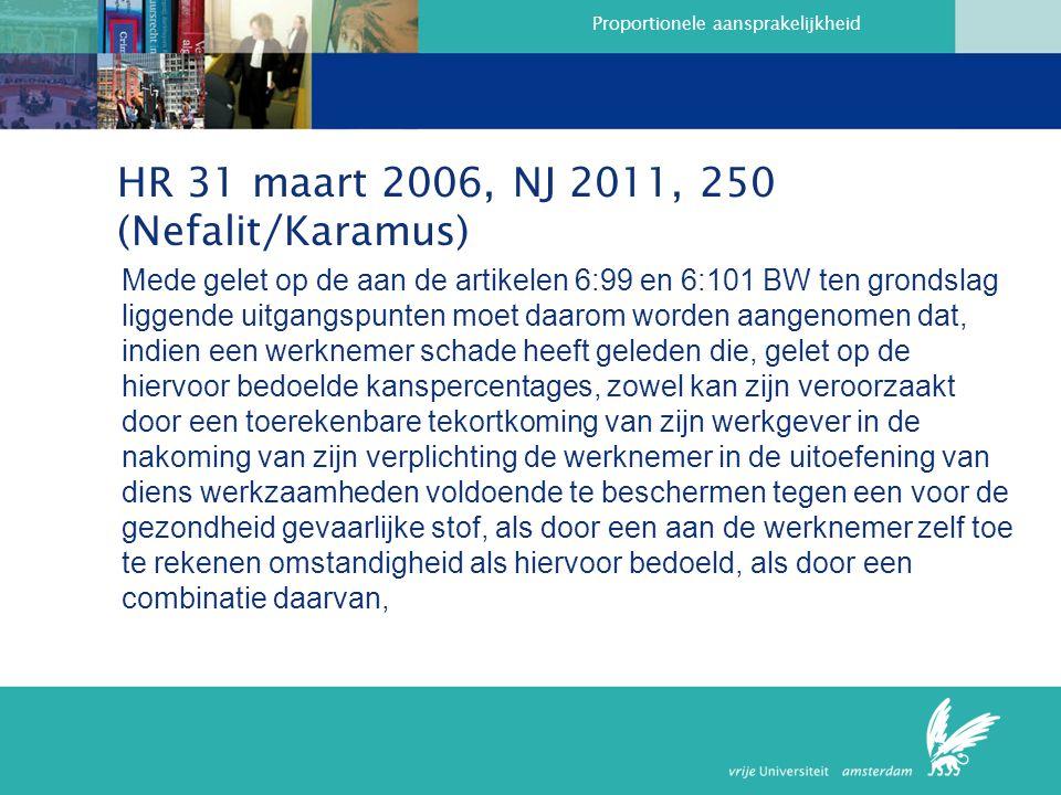 Proportionele aansprakelijkheid HR 31 maart 2006, NJ 2011, 250 (Nefalit/Karamus) Mede gelet op de aan de artikelen 6:99 en 6:101 BW ten grondslag liggende uitgangspunten moet daarom worden aangenomen dat, indien een werknemer schade heeft geleden die, gelet op de hiervoor bedoelde kanspercentages, zowel kan zijn veroorzaakt door een toerekenbare tekortkoming van zijn werkgever in de nakoming van zijn verplichting de werknemer in de uitoefening van diens werkzaamheden voldoende te beschermen tegen een voor de gezondheid gevaarlijke stof, als door een aan de werknemer zelf toe te rekenen omstandigheid als hiervoor bedoeld, als door een combinatie daarvan,