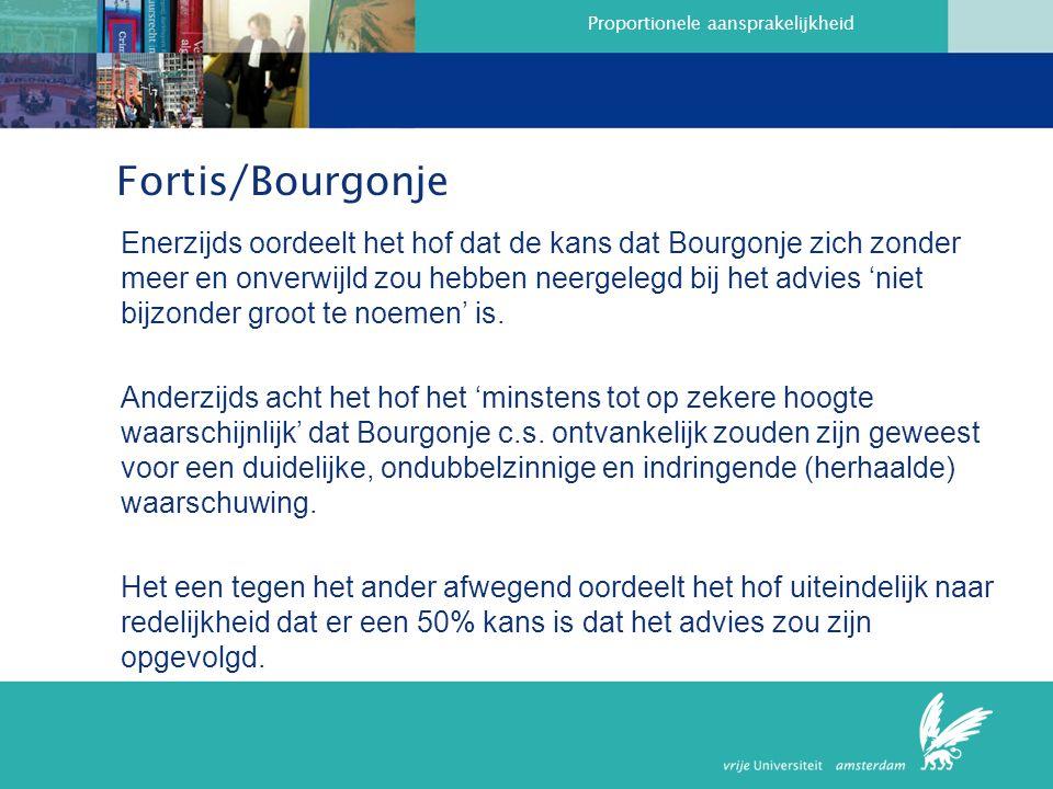 Proportionele aansprakelijkheid Fortis/Bourgonje Enerzijds oordeelt het hof dat de kans dat Bourgonje zich zonder meer en onverwijld zou hebben neergelegd bij het advies 'niet bijzonder groot te noemen' is.