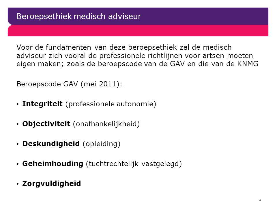 4 Beroepsethiek medisch adviseur Voor de fundamenten van deze beroepsethiek zal de medisch adviseur zich vooral de professionele richtlijnen voor arts