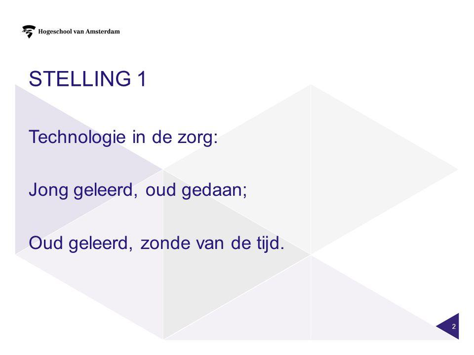 STELLING 2 Zorgtechnologie wordt alleen toegepast als een eenvoudiger oplossing niet mogelijk is.