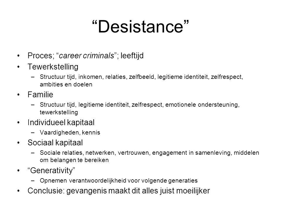"""""""Desistance"""" Proces; """"career criminals""""; leeftijd Tewerkstelling –Structuur tijd, inkomen, relaties, zelfbeeld, legitieme identiteit, zelfrespect, amb"""