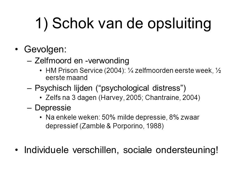 1) Schok van de opsluiting Gevolgen: –Zelfmoord en -verwonding HM Prison Service (2004): ¼ zelfmoorden eerste week, ½ eerste maand –Psychisch lijden ( psychological distress ) Zelfs na 3 dagen (Harvey, 2005; Chantraine, 2004) –Depressie Na enkele weken: 50% milde depressie, 8% zwaar depressief (Zamble & Porporino, 1988) Individuele verschillen, sociale ondersteuning!