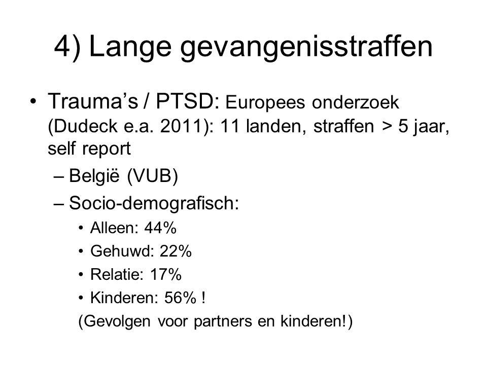 4) Lange gevangenisstraffen Trauma's / PTSD: Europees onderzoek (Dudeck e.a. 2011): 11 landen, straffen > 5 jaar, self report –België (VUB) –Socio-dem