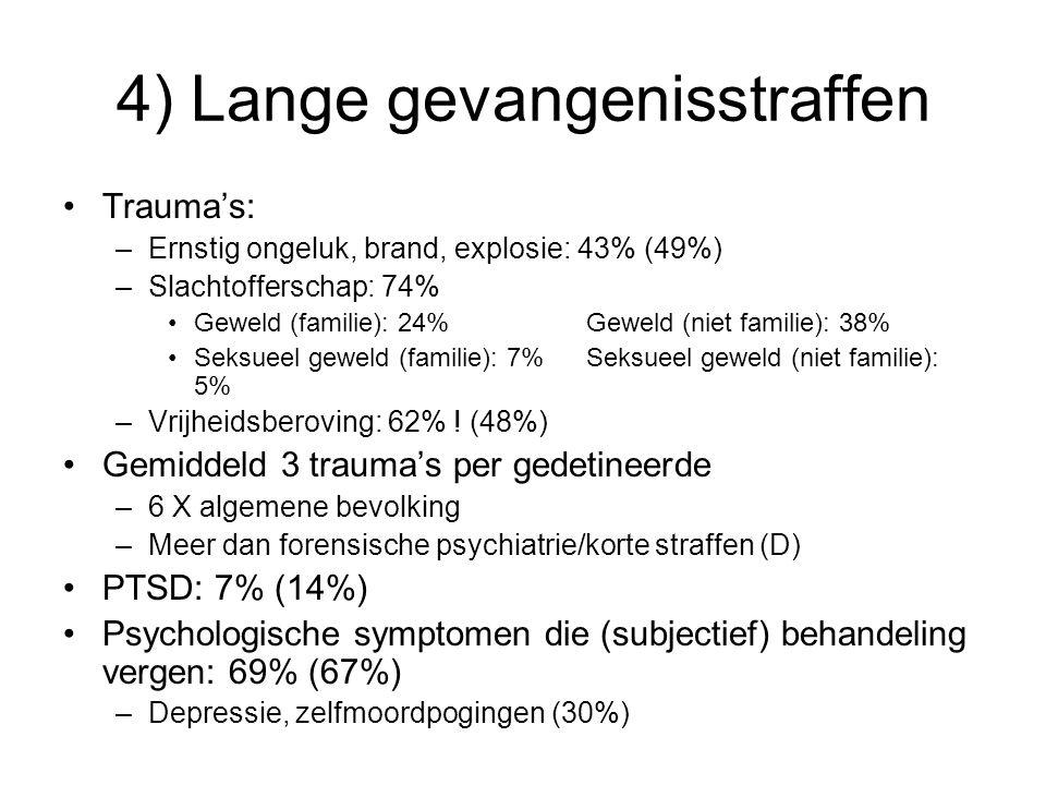 4) Lange gevangenisstraffen Trauma's: –Ernstig ongeluk, brand, explosie: 43% (49%) –Slachtofferschap: 74% Geweld (familie): 24% Geweld (niet familie): 38% Seksueel geweld (familie): 7% Seksueel geweld (niet familie): 5% –Vrijheidsberoving: 62% .