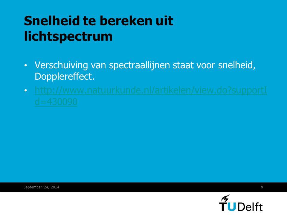 September 24, 20149 Snelheid te bereken uit lichtspectrum Verschuiving van spectraallijnen staat voor snelheid, Dopplereffect. http://www.natuurkunde.