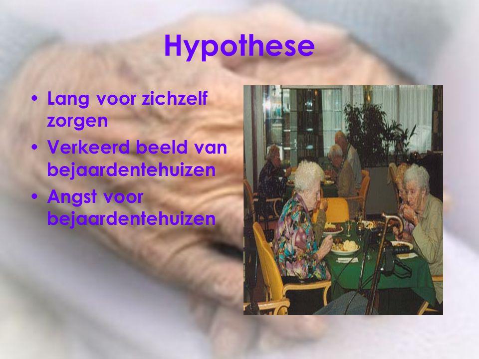 Hypothese Lang voor zichzelf zorgen Verkeerd beeld van bejaardentehuizen Angst voor bejaardentehuizen