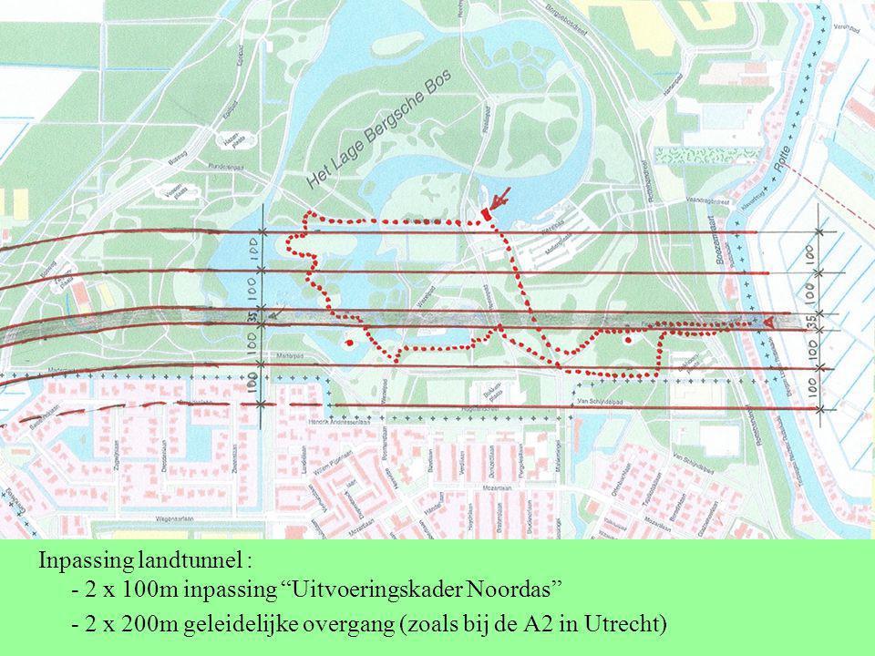 """Inpassing landtunnel : - 2 x 100m inpassing """"Uitvoeringskader Noordas"""" - 2 x 200m geleidelijke overgang (zoals bij de A2 in Utrecht)"""