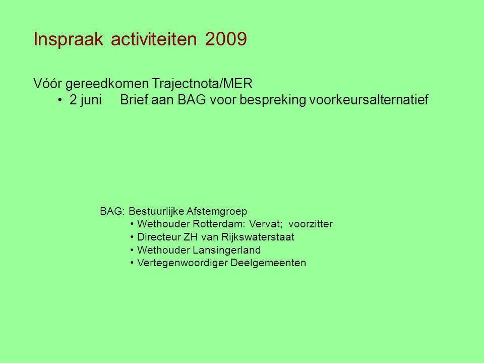 Inspraak activiteiten 2009 Vóór gereedkomen Trajectnota/MER 2 juni Brief aan BAG voor bespreking voorkeursalternatief BAG: Bestuurlijke Afstemgroep We