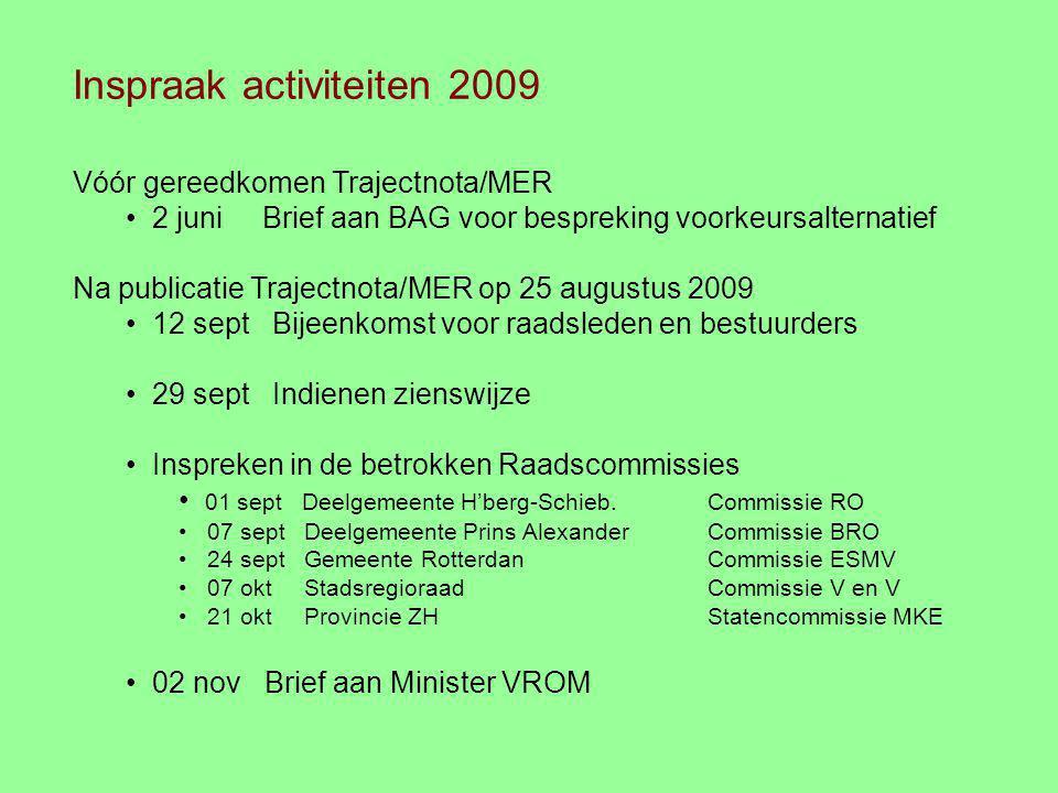 Inspraak activiteiten 2009 Vóór gereedkomen Trajectnota/MER 2 juni Brief aan BAG voor bespreking voorkeursalternatief Na publicatie Trajectnota/MER op