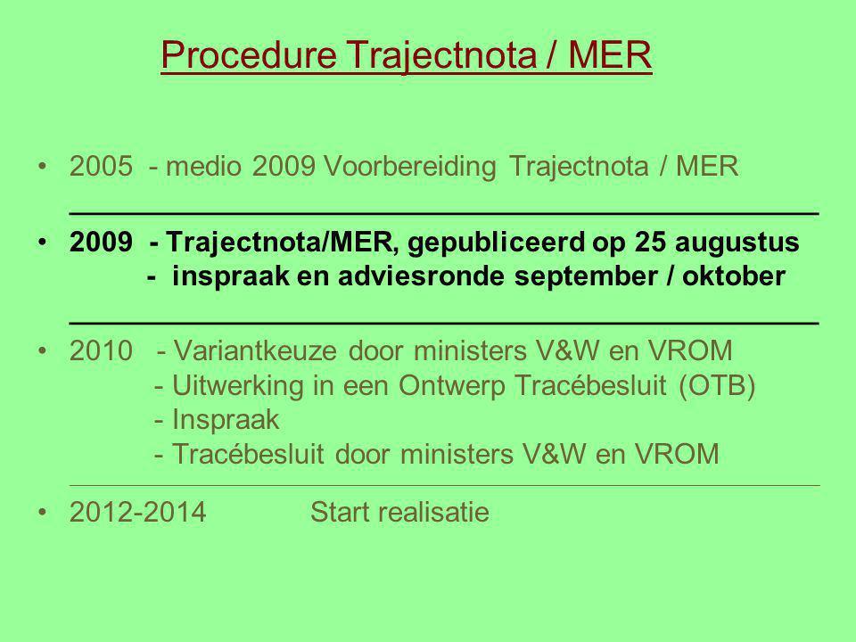 Procedure Trajectnota / MER 2005 - medio 2009 Voorbereiding Trajectnota / MER _______________________________________________ 2009 - Trajectnota/MER,