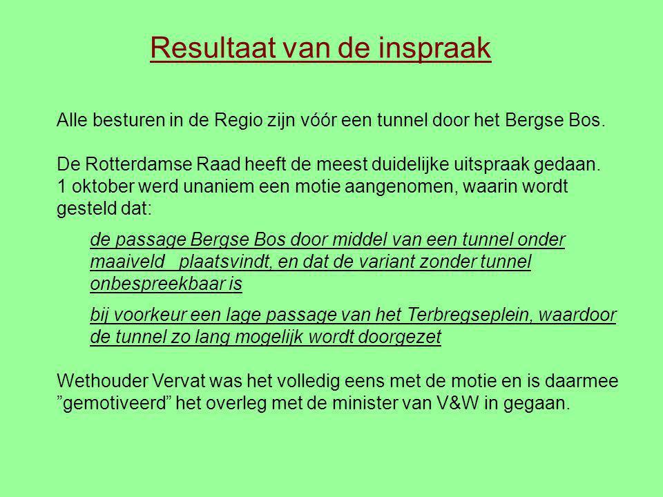Resultaat van de inspraak Alle besturen in de Regio zijn vóór een tunnel door het Bergse Bos. De Rotterdamse Raad heeft de meest duidelijke uitspraak