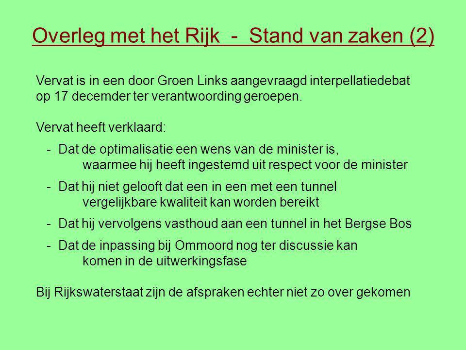 Overleg met het Rijk - Stand van zaken (2) Vervat is in een door Groen Links aangevraagd interpellatiedebat op 17 decemder ter verantwoording geroepen