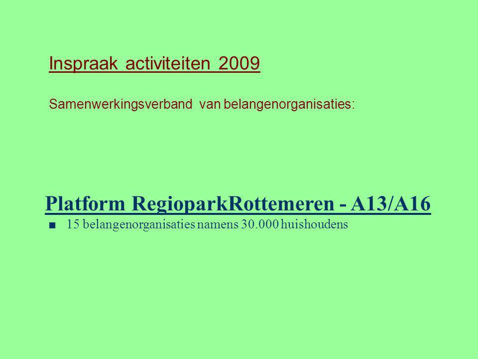 Inspraak activiteiten 2009 Samenwerkingsverband van belangenorganisaties: Platform RegioparkRottemeren - A13/A16 ■ 15 belangenorganisaties namens 30.0